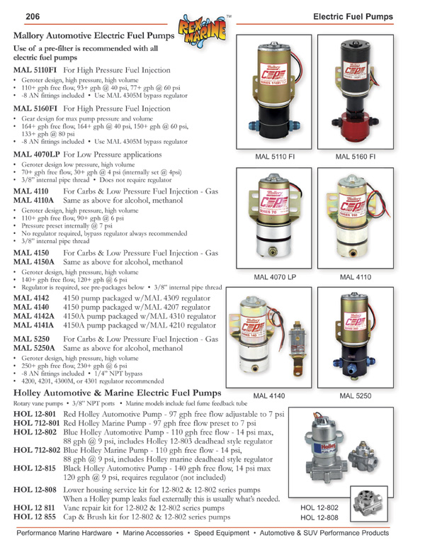 Mallory Electric Fuel Pumps, Holley Automotive and Marine